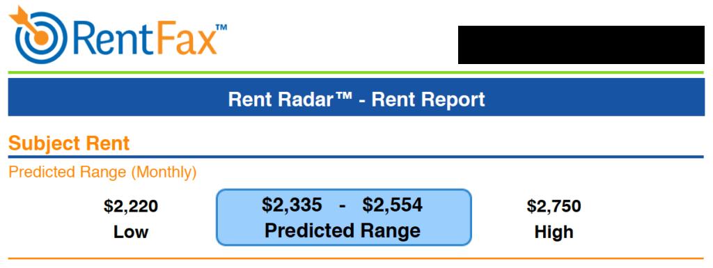 RentFax Rent Estimate