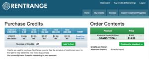 Rent Range Rent Estimate Credit Purchase Screen