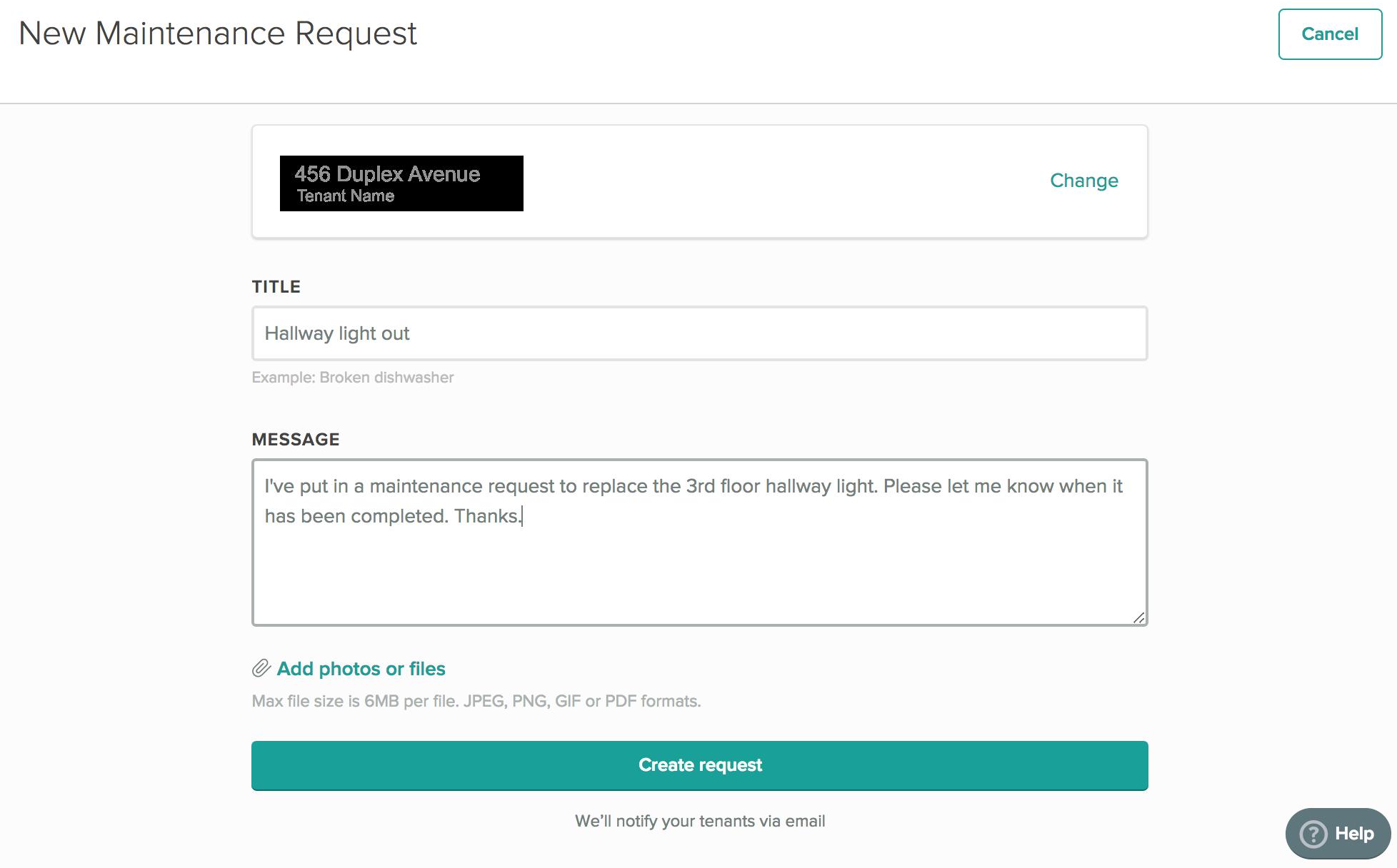 Cozy New Maintenance Request Input Screen
