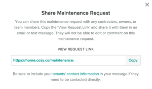 Cozy Share a Maintenance Request Pop Up