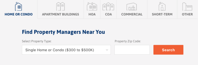 All Property Management Search Screen