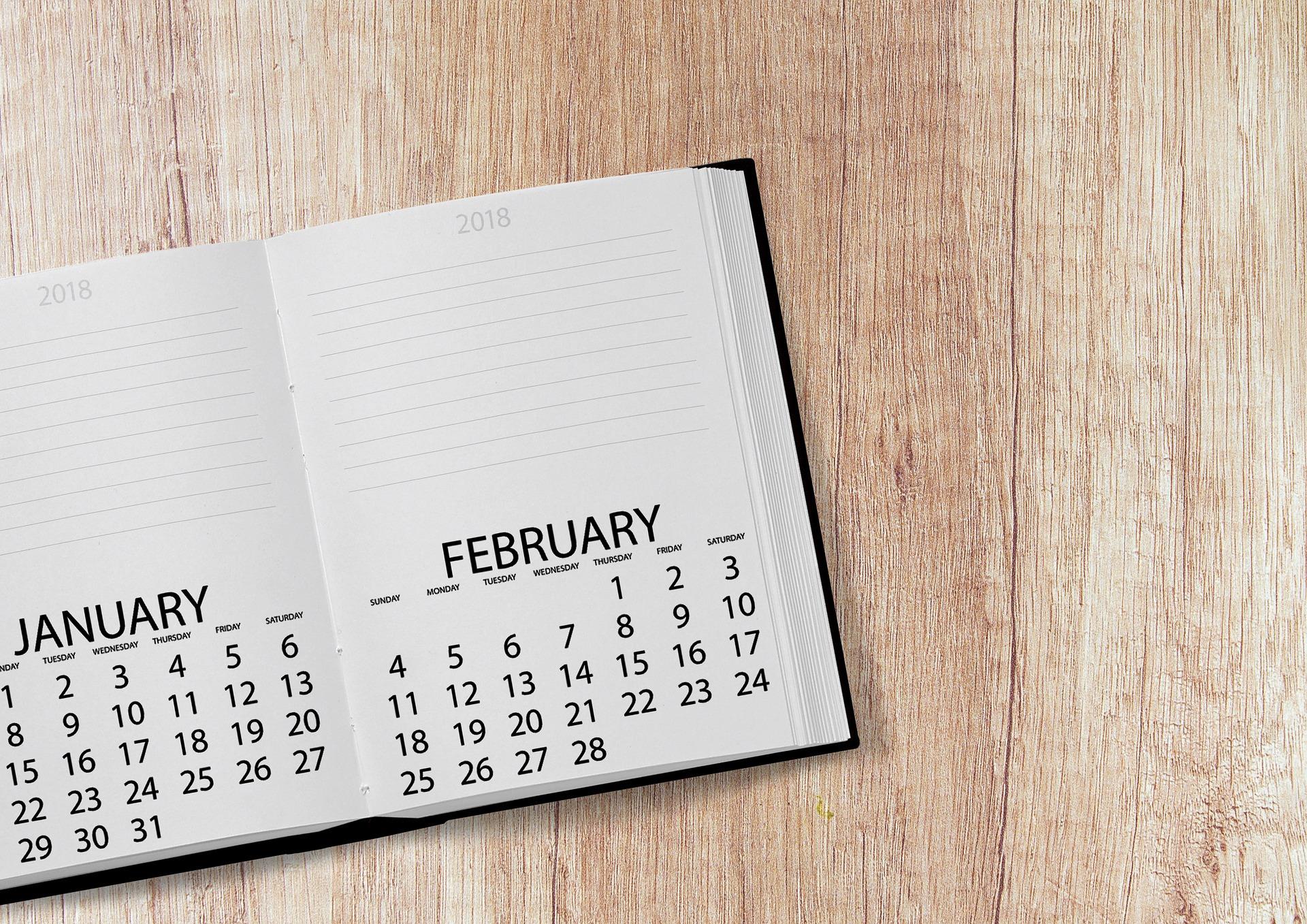 Calendar open to February