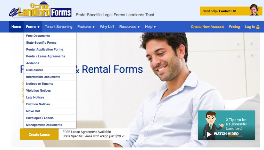 EZ Landlord Forms Drop Down