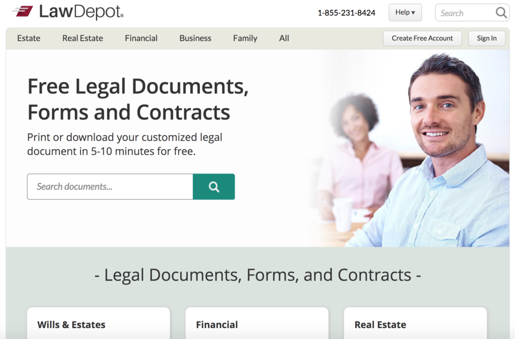 Law Depot Homepage