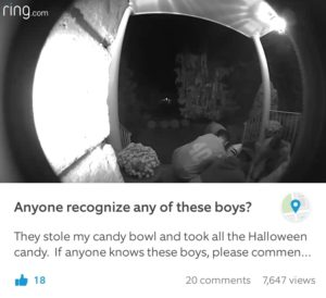 Ring video captures halloween candy theft