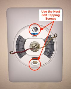 Attaching the nest thermostat mounting plate