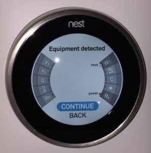 Nest Set up Equipment Detected screen