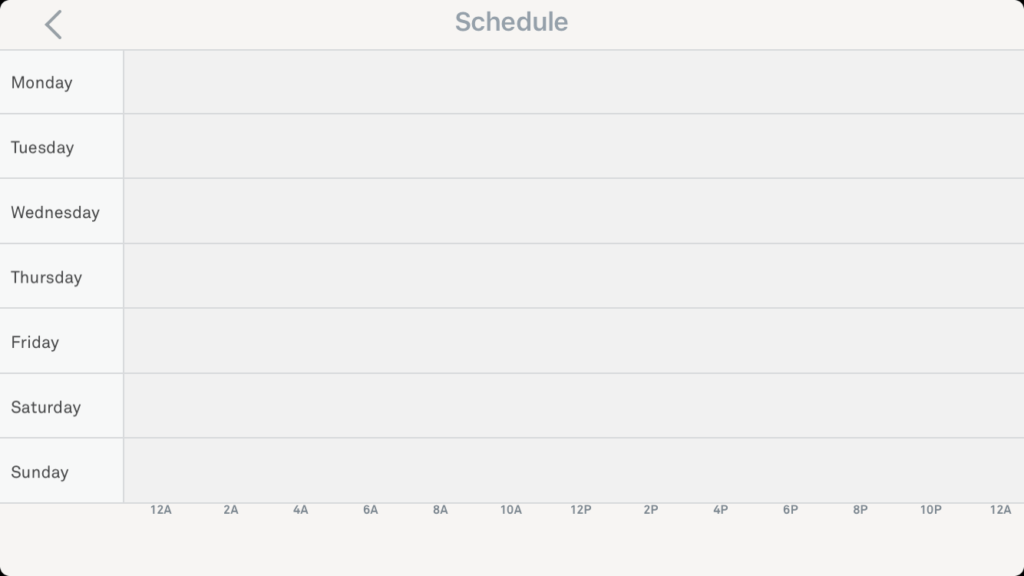 Nest thermostat app with an empty schedule