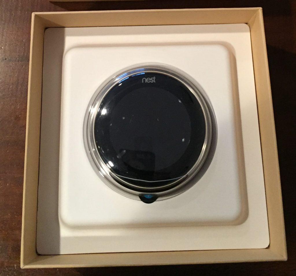 Nest Thermostat inside the box