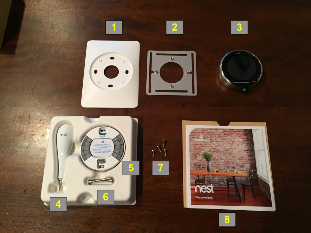 Nest thermostat packaging contents