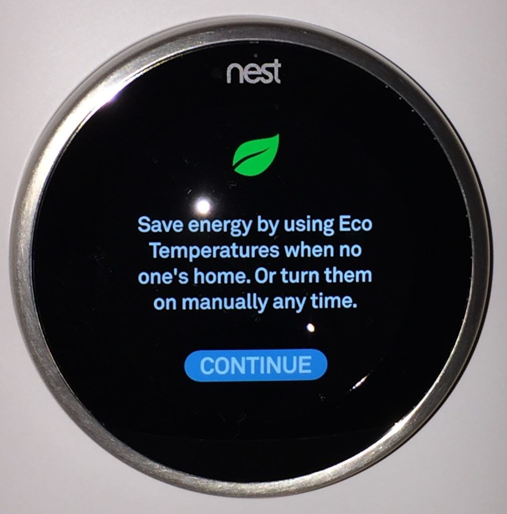 Setting the Nest thermostat Eco temperature