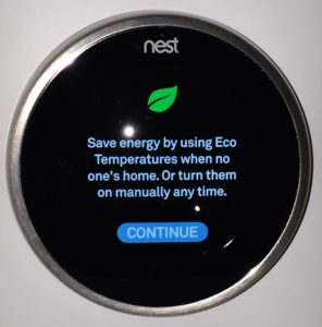 Nest thermostat eco temperature set up screen