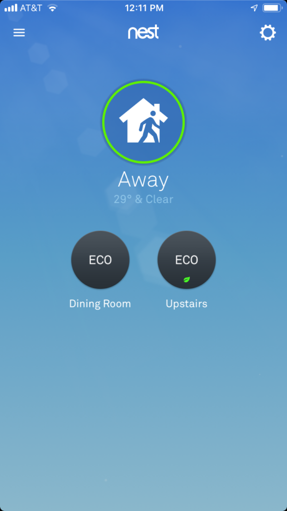 Nest App with two Nest thermostats installed