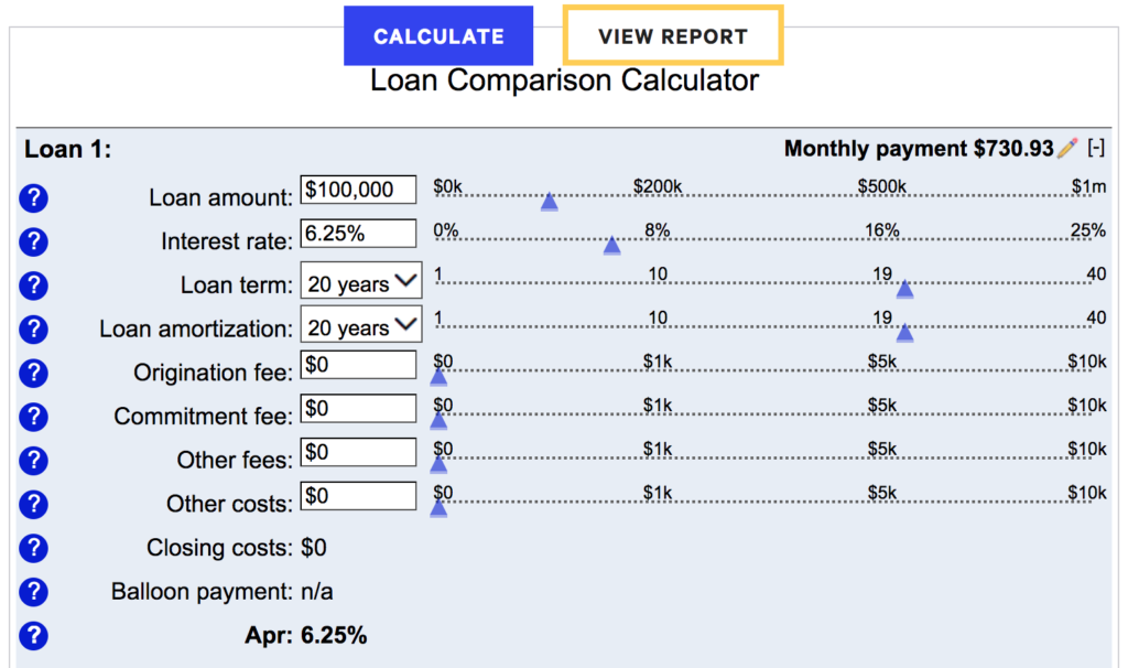 Bankrate.com loan comparison tool comes in handy when evaluating different lenders for a cash out refi