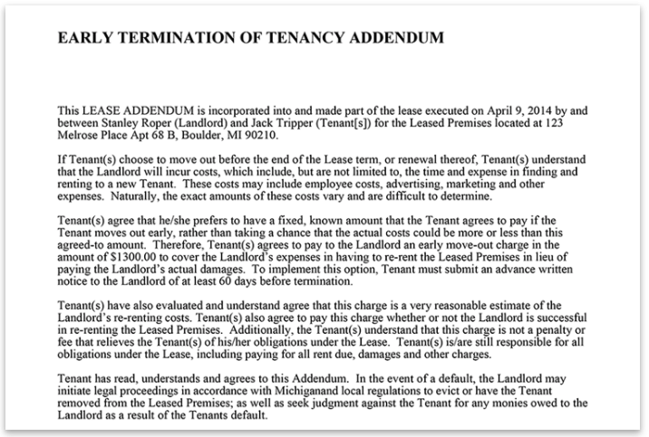 Sample Apartment Lease Termination Letter from accidentalrental.com